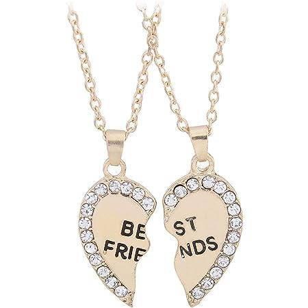 TININNA 2 Pieza Acero Inoxidable Colgante Collar con Diamante, Color Negro/Oro Rosa,Corazón Colgante Collar para Parejas/Enamorados/Mejor Amiga.