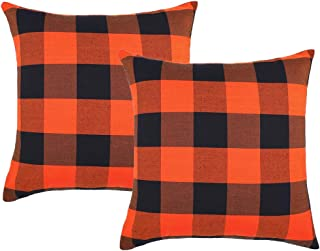4TH Emotion Set of 2 Fall Halloween Buffalo Check Plaids Throw Pillow Case Cushion Cover Cotton Canvas for Sofa Orange and Black, 18 x 18 Inches
