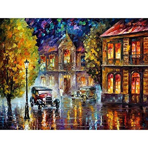 SZYUY Numero Schilderij, kinderen, volwassenen, kunst, olieverfschilderij op canvas, nummerset, voor het knutselen van nummers, auto, retro, abstract, 40 cm x 50 cm