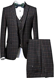 Men's Plaid Slim Fit 3 Pieces Single Breasted Party Prom Tuxedo Suits