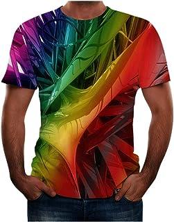 LANSKIRT Camisetas Manga Corta Hombre Camisa Deportiva de Hombre con Estampado de Imagen En Línea 3D Ropa de Primavera V...