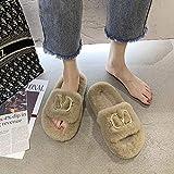 HUSHUI Memoria Zapatillas De Estar Al Aire Libre,Cálido Piso Antideslizante con Zapatillas, Felpa de algodón para el hogar-Khaki_36,Memoria Zapatos con Antideslizante