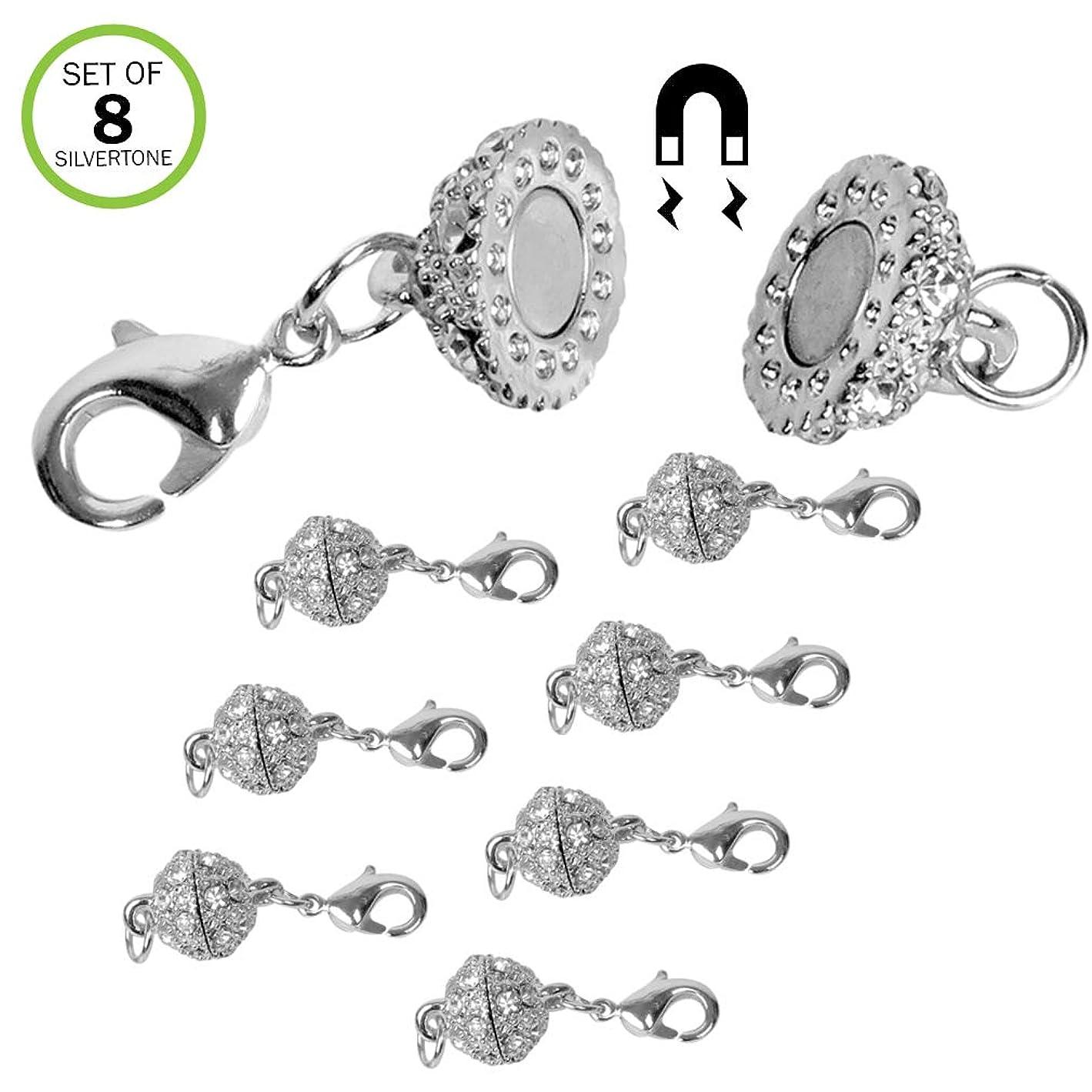 Evelots Magnetic Jewelry Clasps, Rhinestone Ball, Goldtone Or Silvertone- Set/8 x44581429796666