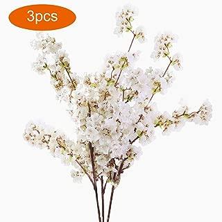 DecoForU 3 PCS 31 Inch Artificial Cherry Blossom Branches Flowers Silk Peach Flowers Arrangements for Home Wedding Decoration (White)