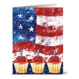 Patriotic Greeting Cards 24 Pack –Flag and Cupcakes – Unique American Design – RED ENVELOPES INCLUDED – Glossy Cover Blank Inside – By Note Card Café