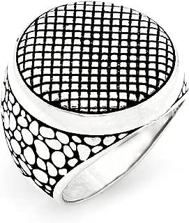 Turkish Ottoman Jewelry Classy Cool Plain Motif 925K Sterling Silver Men's Ring