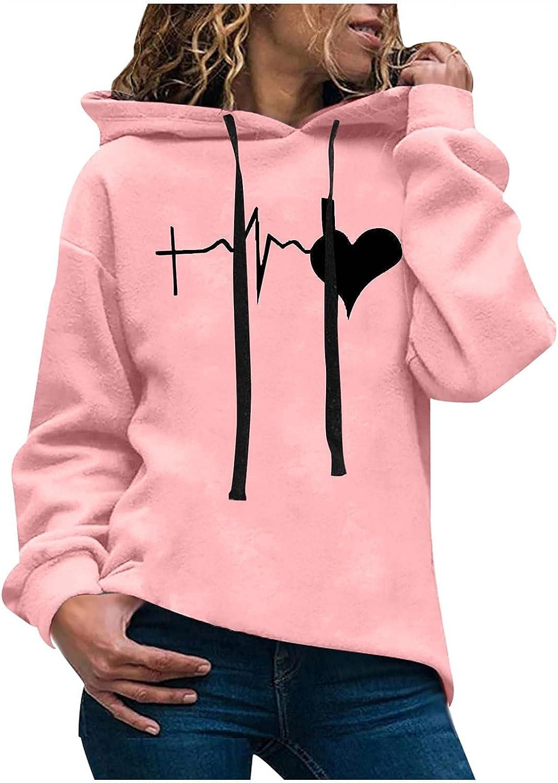 Plus Size Hoodies for Women Girls Heartbeat Print Hoodie Long Sleeve Sweatshirt Plush Hooded Pullover Sweater Shirts Top