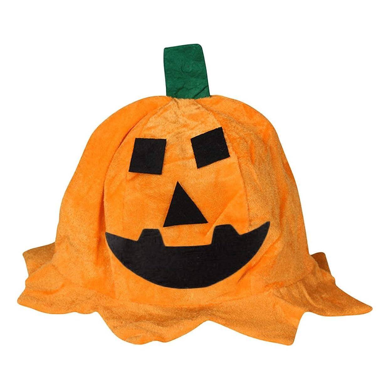 被害者ほんの惑星季節用品 パンプキンヘッド 面白い ハロウィンパーティー装飾 小道具 オレンジ色 布のパンプキンハット 帽子 スクエアアイ
