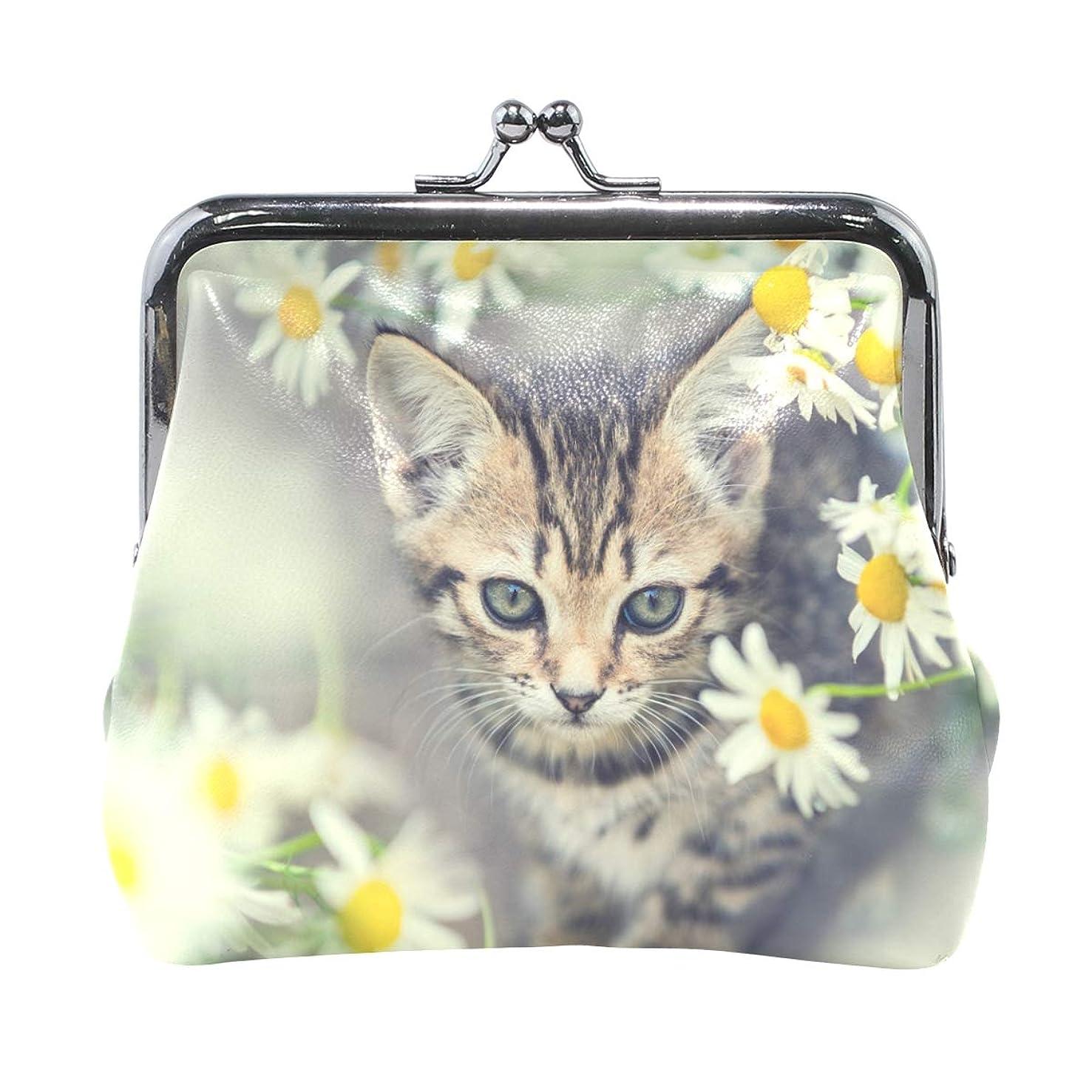 有毒なコンテンツ対処がま口 財布 口金 小銭入れ ポーチ 猫 花柄 ANNSIN バッグ かわいい 高級レザー レディース プレゼント ほど良いサイズ