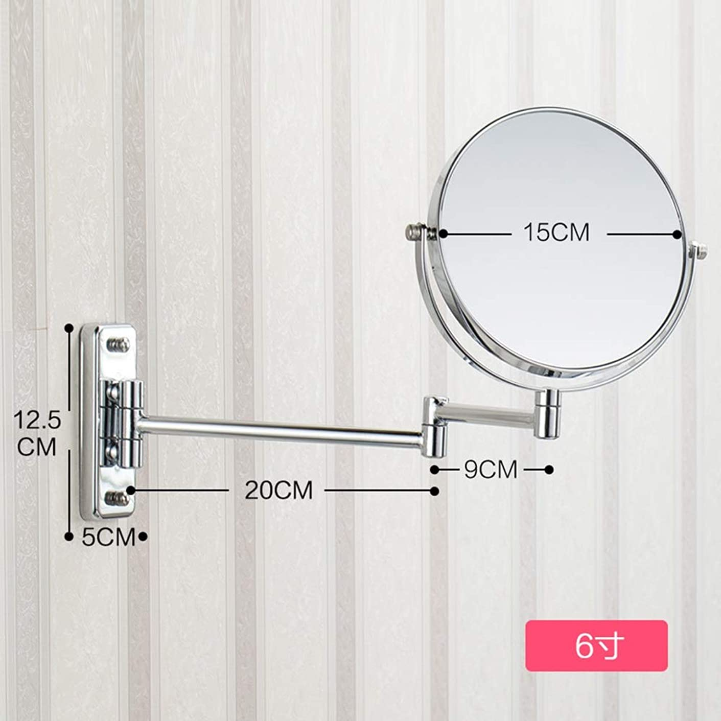 照明付き化粧鏡 8.66インチ3倍拡大壁マウント化粧鏡バスルームミラー両面回転ポリッシュクローム仕上げ 化粧鏡 (Size : 6 inches 3X)