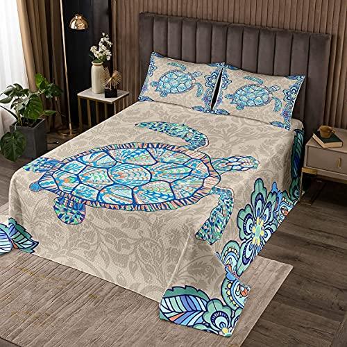 Meer Schildkröte Tagesdecke 220x240cm 3D Drucken Boho Blumen Bettüberwurf für Jungen Mädchen Jugendliche Ozean Marine Thema Steppdecke Unterwasser Tiermuster Wohndecke Zimmer Dekor Kollektion