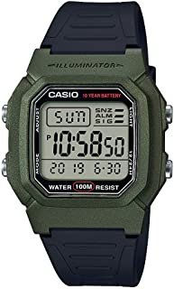 Casio Men's Classic Stainless Steel Quartz Watch with Resin Strap, Black, 18 (Model: W-800HM-3AVCF)