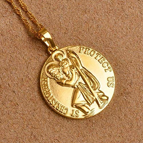 ZJJLWL Co.,ltd Necklace St. Christopher Protect Me Necklaces for Women Gold Color Saint Christophe Pendant Religious Jewelry