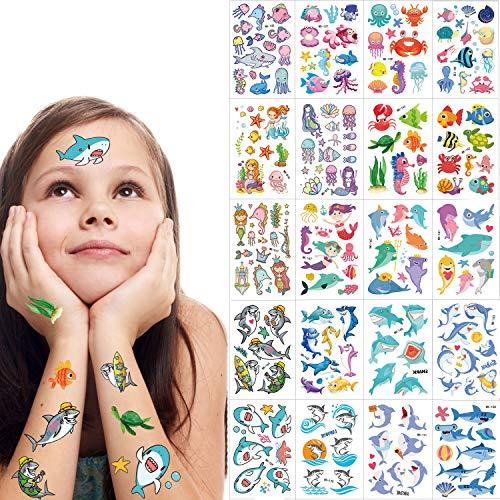 SZSMART Meerestiere Tattoos Set Meerjungfrau Temporäre Tattoos für Kinder, Hai Tattoos Aufkleber Wasserdicht Tätowierung Gefälschte Tattoos Kindergeburtstagsgeschenk für Junge Mädchen
