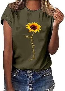 Londony❀ Sunflower T-Shirt Women Cute Funny Graphic Tee Teen Girls Casual Short Sleeve Shirt Tops Summer T Shirt