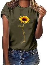 Camiseta de Talla Grande para Mujer Estampado De Girasol Manga Corta Cuello Redondo Verano Blusas Casuales Mujer Verano 2019 Moda BuyO