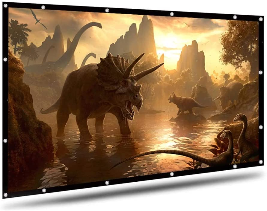 DSFEOIGY 100/120 Inch 16:9 Projector Screen Polyester Portable Front/Rear Non-Crease Foldable Design Home Projection Screen Cloth (Size : 120 inch)