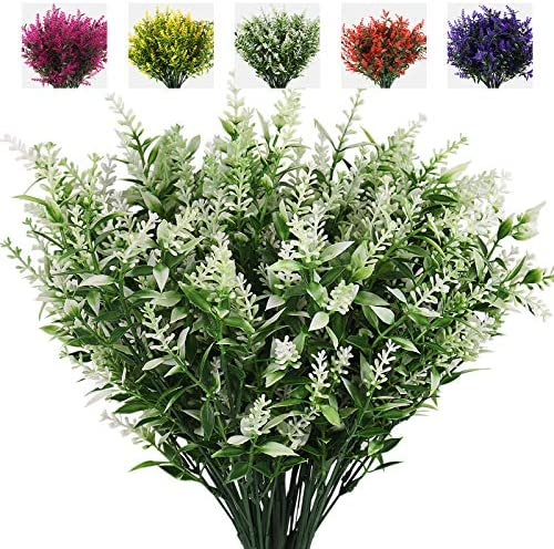 RECUTMS Artificial Plants Lavender 8 Bundles Outdoor UV Resistant Greenery Fake Shrubs Simulation product image