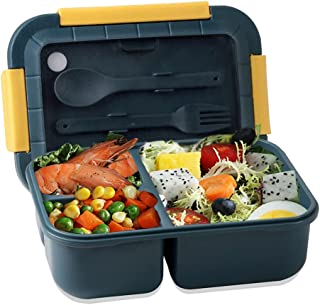 Bento Box Adult Lunch Box, Iteryn 3 Compartments Leak Proof Lunch Containers BPA-Free, Bento Boxes for Kids Lunches are Mi...
