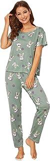 Shein Women's Rabbit Print Tee and Sweatpants Pajama Set
