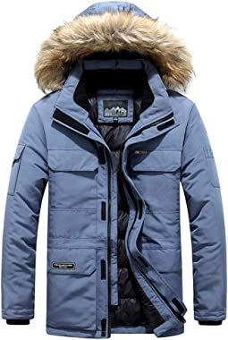 Leewa Jacket Winter Jacket Man Down Jacket with Plush Hood Quilted Coat Casual Padded Jacket Man Thermal Jackets Outwear Park