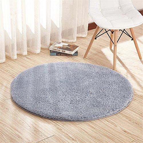 Ommda Teppiche Schurwolle Wohnzimmer Flauschig Modern Outdoor Teppiche Rund rutschfest Anti Rutsch Grau 140cm