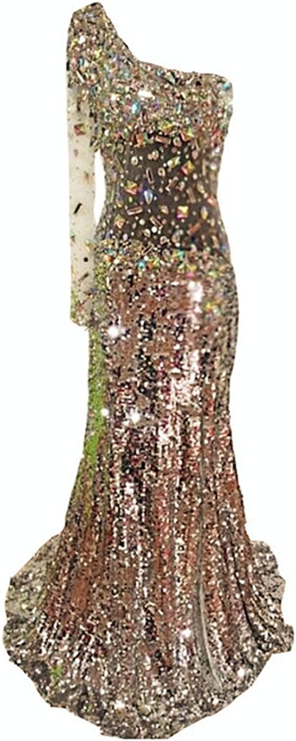 Snow Lotus Women's One Shoulder Sequins Diamond Trailing Ball Gown