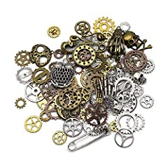 Mila-Amaz 80 Pcs Assorted Antique Steampunk Gears Metal Skeleton Pendant Charms Cogs for Jewelry Making Accessory - Bronze, Silver #5