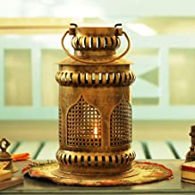 Sadhubela's Jaisalmer Mehrab Art Burni Diya Lantern - Handcrafted Antique Golden Polished Iron Burni Lantern with Brass Diya - 18cm x 18cm x 31cm
