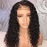 JEZZ pelo brasileño del cordón del pelo humano pelucas delanteras Glueless pelo humano rizado corto Bob peluca con pelo de bebé para mujeres pelucas negras para la venta(12inch)