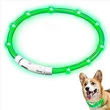Collar para Perros, Collar de Seguridad para Perros, Rymall collar adiestramiento USB ajustable recargable impermeable LED parpadea luz Collar del animal doméstico, Verde