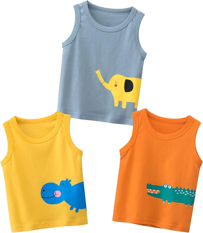 Kumary Boys 3-Pack T-Shirts,Toddler Little Boys Dinosaur Car Short Sleeve Crewneck T Shirts Top Tee Size for 2-6 Years
