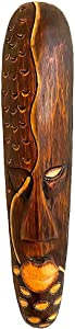 OMA African Mask Wall Decor Hand Carved Wooden Good Luck Tiki Wall Hanging Art Home Decor Gift