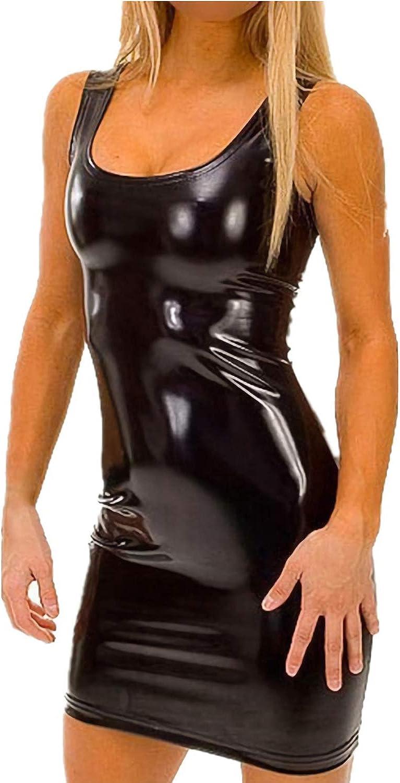ALERDON Women's Sexy PU Leather U Neck Bodycon Party Club Mini Dress