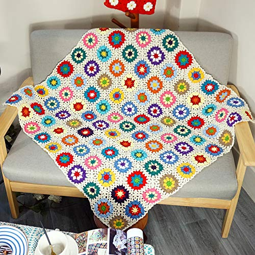 Handmade Crochet Throw Blanket Granny Blanket Sweater Style Year Round Gift Indoor Outdoor Travel Accent Throw for Sofa Comforter Couch Bed Recliner Living Room Bedroom Decor 39' x39'