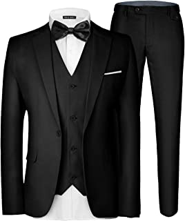 Men's 3 Pieces Suit Elegant Solid One Button Slim Fit Single Breasted Party Blazer..