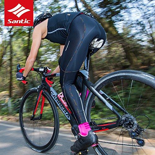 Santic Fahrradhose Damen Gepolstert Lang,Radhose Damen Lang mit Polster,Radlerhose Lang für Winter Schwarz EU XS - 7