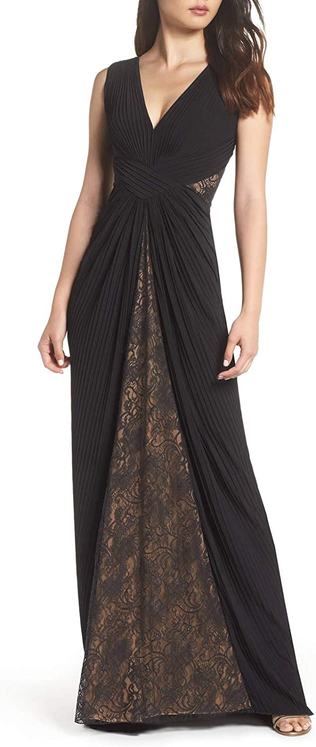 Aishanglina Women's Pleated Deep V Lace Evening Gown Party Data Dress Plus Size with Floral Lace Back