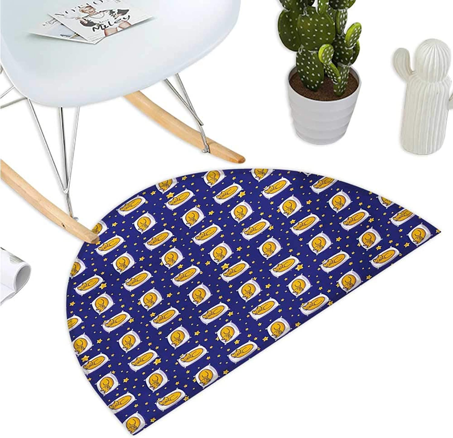 Cats Semicircle Doormat Sleeping Cats on Pillows in Starry Night Sky Sweet Dreams for Kids Halfmoon doormats H 35.4  xD 53.1  Royal bluee Earth Yellow White