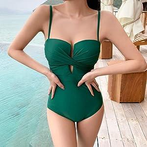 TJLSSTJLSS Trajes de baño para Mujer Bikini Sexy de una Pieza a la Moda con Almohadilla para el Pecho Bikini con Estampado Dividido Traje de baño con Abertura para Calzoncillos (Size : Medium)