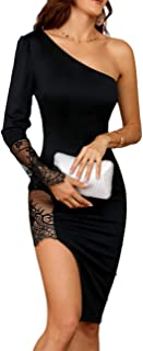 Women Sexy Lace One Shoulder Side Slit Midi Bodycon Dress Cocktail Party Dress