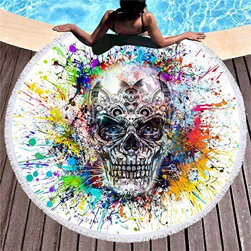 BCDJYFL 3D Toalla De Playa Calavera De Pintura Al Óleo 3D Playa Grande Absorbente Manta De Verano Resistente A Arena Viaje Super Ligero Piscina Natación Playa De Yoga.-Diámetro: 150Cm