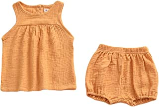 ModnToga Baby Outfits Unisex Girls Boys Cotton Linen Blend Tank Tops and Bloomers