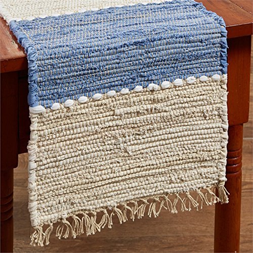 "Park Designs 54"" Table Runner in Denim Light Blue & Beige Chindi Nubby Cotton"