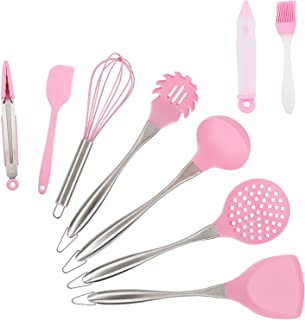 Kitchen Utensil Set, NiceCode 9 Piece Cooking Utensils Silicone and Stainless Steel Kitchen Gadgets Cooking Tool Non Stick Cookware Pink