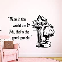 Pioay Wall Decals Quote Alice in Wonderland Decal Quote Who is The World am I Vinyl Sticker Nursery Bedroom