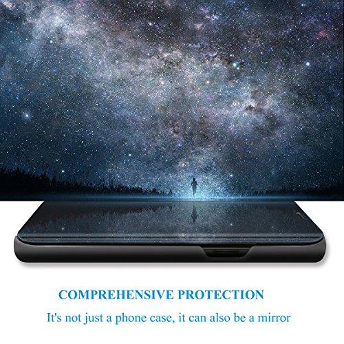 Huawei Honor View 10 hülle S-View Flip 360 Grad Spiegel Phone Huawei Honor View 10 Cover Handy Shell Smart Case Tasche Smartphone Scratchproof Bumper Hard (Schwarz, Huawei Honor View 10) - 4
