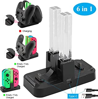 Whiteoak Switch Pro Controller 6 in 1 Charger, for Nintendo Switch Joy-Con Charging Dock Station Stand with LED Indicator,[Upgrade Version] with Free Type C Cable