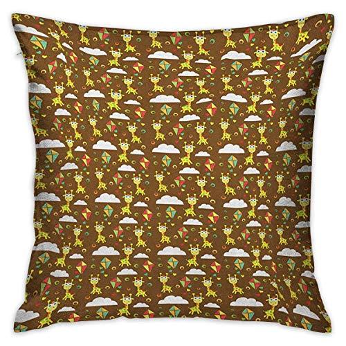 Protector de funda de almohada cuadrada jirafa Patrón de cuento de hadas infantil Felicidad e imaginación Cometas voladoras Nubes Corazones Fundas de cojín multicolor Fundas de almohada para sofá Dorm