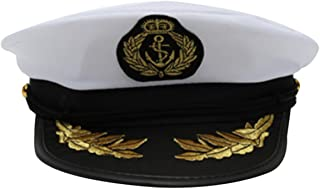 ASSUN Captain Hat Skipper Sailors Navy Boating Military Marine Admiral Hat Cap Costume Accessory Party Fancy Dress (White)